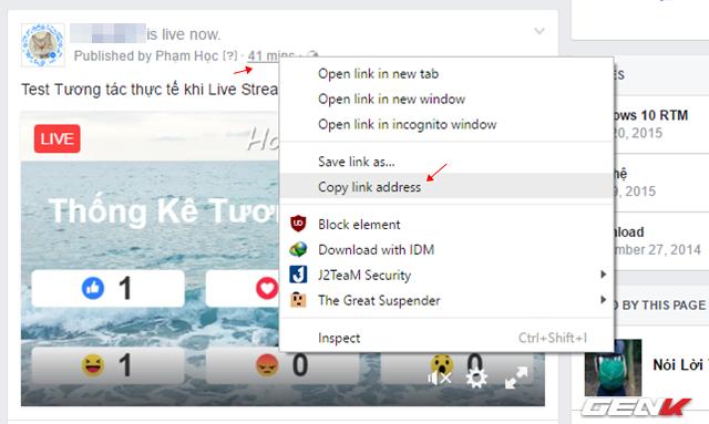 """Khi bài Live Stream đã được đăng tải, bạn hãy truy cập vào bài viết của mình, nhấn phải chuột vào dòng thông tin thời gian và chọn lệnh """"Copy link andress""""."""