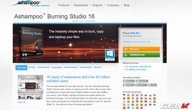 Ashampoo Burning Studio được cung cấp với 2 phiên bản, miễn phí và trả phí. Nếu không có nhu cầu gì nhiều, bản miễn phí là quá đủ đối với chúng ta. Còn nếu bạn yêu cầu nhiều hơn, chỉ cần bỏ ra gần 60USD, bạn sẽ được trải nghiệm những tính năng đặc biệt mà Burning Studio cung cấp. Tất cả điều được cung cấp tại đây.