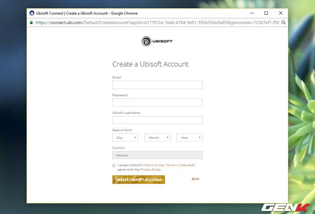 Giao diện đăng ký tài khoản.
