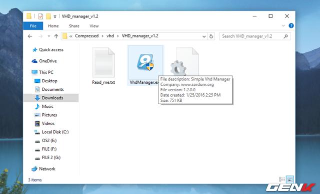 Simple VHD Manager là ứng dụng dạng portable và được cung cấp hoàn toàn miễn phí tại đường dẫn này. Sau khi tải về, bạn chỉ việc xả nén nó và khởi động tập tin EXE của Simple VHD Manager.