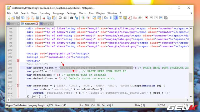 """Tiến hành dán ID bài đăng và mã Access Token vào dòng """"105"""" và """"106"""" của tập tin """"index.html"""". Sau đó lưu lại."""