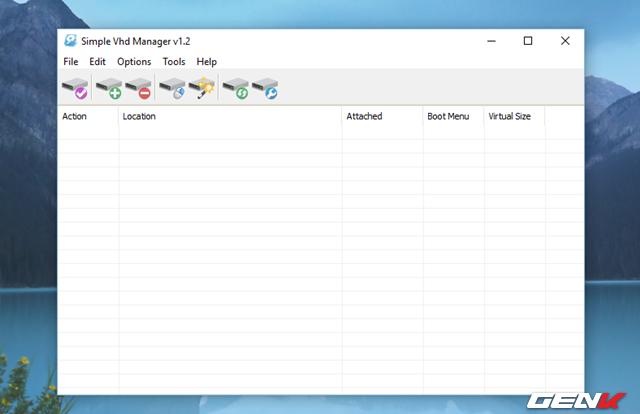 Giao diện của Simple VHD Manager khá đơn giản, tại đây bạn sẽ được cung cấp các tùy chọn giúp quản lí các VHD trên máy tính.