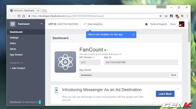"""Tiếp theo bạn hãy truy cập vào trang Facebook dành cho các nhà phát triển tại đây và tạo một app mới theo hướng dẫn ở """"Bước 1"""" mà chúng ta đã từng tham khảo qua trong bài viết này."""