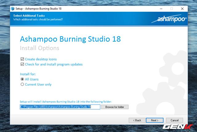 Nhìn chung Ashampoo Burning Studio không cung cấp nhiều lựa chọn cấu hình trong cài đặt, do đó bạn có thể để mọi thiết lập theo mặc định.
