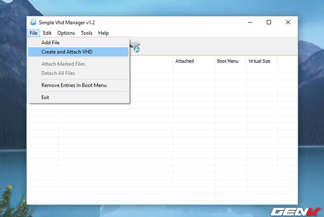 Để tạo một VHD, bạn hãy nhấn vào tùy chọn File > Create and attach VHD. Trường hợp nếu bạn đã có sẳn một VHD trên máy tính, bạn chỉ việc nhấp vào tùy chọn Add File.