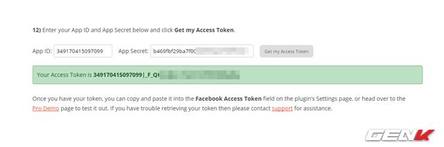 """Khi đã tạo xong, bạn hãy sao chép mã ở 2 dòng là """"App ID"""" và """"App Secret"""" rồi dán vào 2 ô tương ứng tại trang web này. Sau đó nhấp vào """"Get my Access Token"""" để lấy mã """"Access Token""""."""