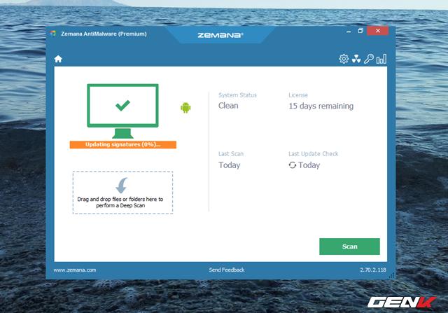 Sau Khi đã hoàn thành việc cài đặt, Zemana AntiMalware sẽ tự khởi động và bắt đầu việc cập nhật cơ sở dữ liệu.