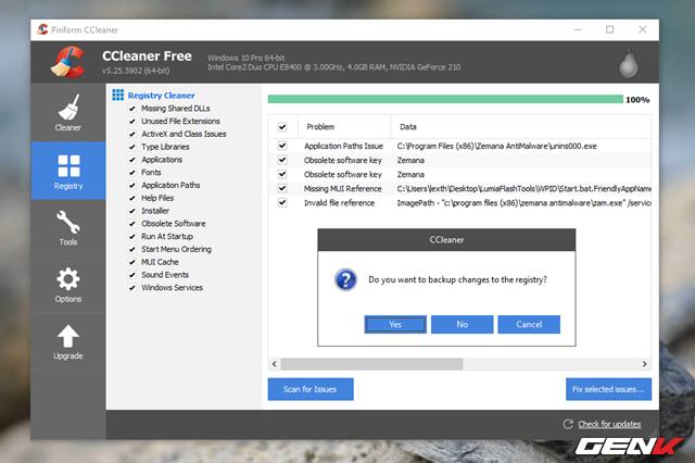 """Tiếp theo, hãy khởi chạy phần mềm Ccleaner lên. Nhấp vào mục """"Registry"""" rồi tiến hành quét và xóa các khóa Registry còn tồn dư lại."""