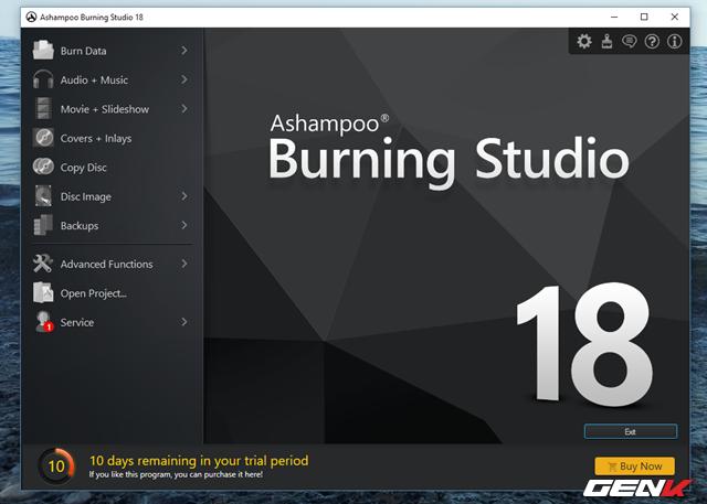 Giao diện của Ashampoo Burning Studio khá đơn giản với danh sách các nhóm tính năng được gom gọn về 1 phía và trình bày nhìn khá dễ hiểu.