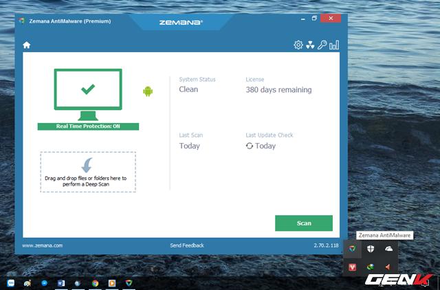 Khi đã hoàn thành việc cập nhật dữ liệu, bạn sẽ thấy Zemana AntiMalware chuyển qua chế độ chạy nền trên hệ thống và kích hoạt khả năng giám sát và bảo vệ Windows theo thời gian thực.