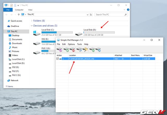Khi đã định dạng xong, bạn sẽ thấy phần vùng VHD sẽ xuất hiện trong danh sách phân vùng của hệ thống. Cùng lúc đó cũng xuất hiện trong Simple VHD Manager.