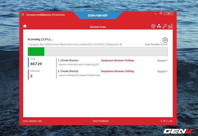 Trong lúc quét, nếu phát hiện thấy mối nguy hại, giao diện của Zemana AntiMalware sẽ chuyển sang màu đỏ để cảnh báo bạn. Đồng thời hiển thị số lượng, thông tin và lựa chọn hành động đối với mối nguy hại được phát hiện để bạn xem xét.