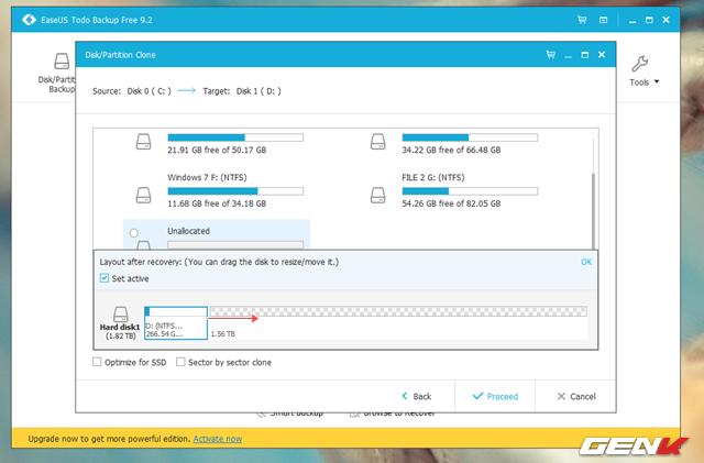 """Theo mặc định, EaseUS Todo Backup sẽ tiến hành định dạng và tạo một phân vùng mới với thông tin và dung lượng hoàn toàn giống với dung lượng hiện có của phân vùng cài đặt Windows. Do đó, bạn sẽ nhận thấy ổ cứng mới còn khá nhiều dung lượng trống đang ở trạng thái """"Unallocated"""", việc của bạn lúc này là kéo đường màu xanh đến hết thanh trượt dung lượng rồi nhấn """"OK"""" để xác nhận."""