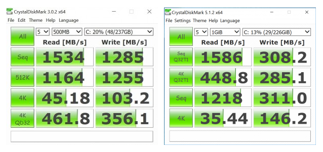 Tốc độ ổ cứng ThinkPad X1 Carbon (bên trái) so với Dell XPS 13 (bên phải), cả 2 đều vô cùng ấn tượng.