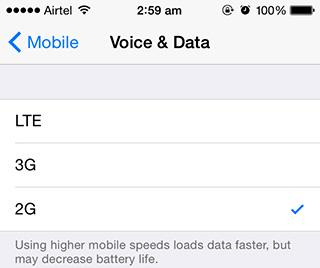 iPhone lock không có tùy chọn mạng 4G/3G/2G, kể cả khi đã jailbreak và sửa lỗi