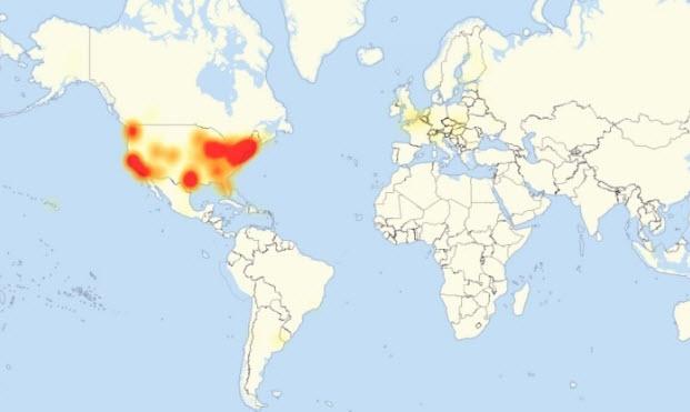 Những khu vực chịu ảnh hưởng của cuộc tấn công DDoS hôm thứ 6 vừa rồi.