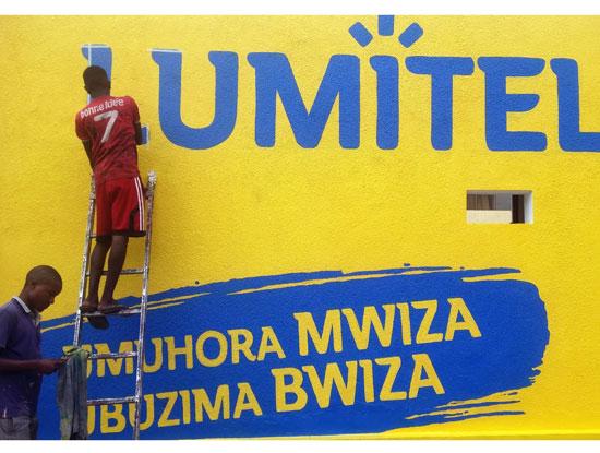 Với 30,000 m2 tường sơn màu thương hiệu (vàng/xanh) Lumitel đã phủ khắp toàn quốc