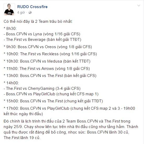 Lịch thi đấu của Boss.CFVN và The.First ngày 25/9/2016