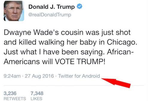 Tweet nào đăng từ thiết bị Android mới là do ông Trump viết.