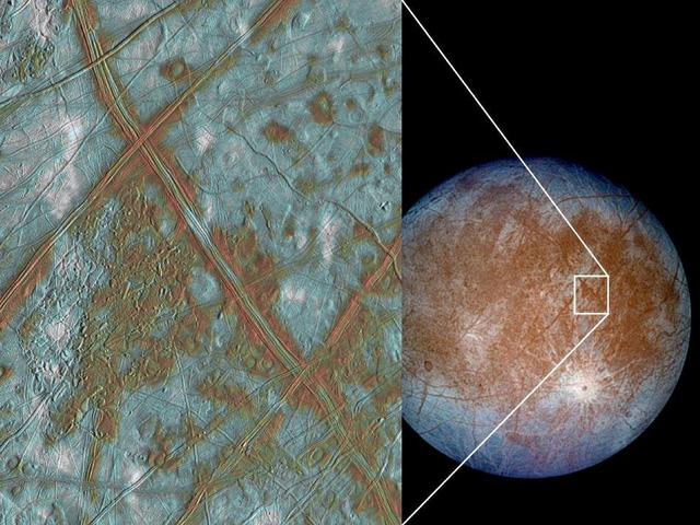 Hình ảnh chụp lại trên bề mặt Europa - chằng chịt vết nứt vỡ.