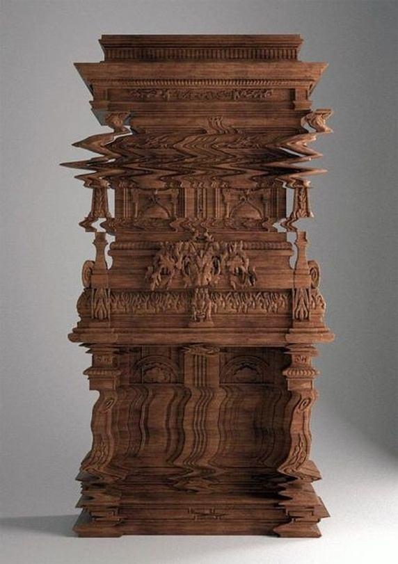 Không phải là ảnh đồ họa bị lỗi đâu, mà thật chất chủ ý của người điêu khắc nên chiếc tủ gỗ này là như vậy.