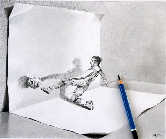 Đây là ảnh cây bút chì đặt lên bức vẽ.