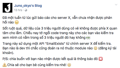 Chia sẻ của Juno_okyo trên fanpage Facebook cá nhân