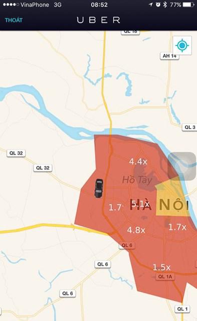 Ví dụ về các khu vực nhân giá hiển thị trên màn hình ứng dụng của tài xế