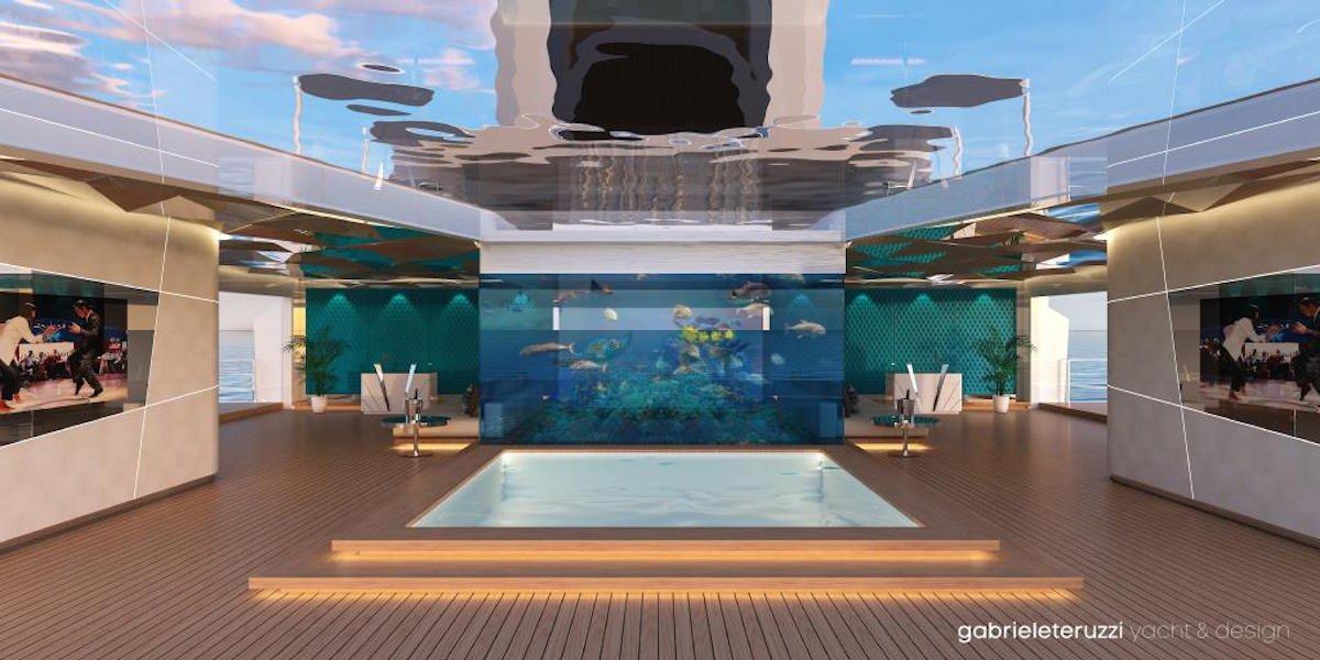 Bên trong du thuyền là quán bar, phòng ăn, club. Trên phần mái được trang bị một tấm kính lớn để bạn có thể nhìn lên trời, ở giữa là một hồ bơi.