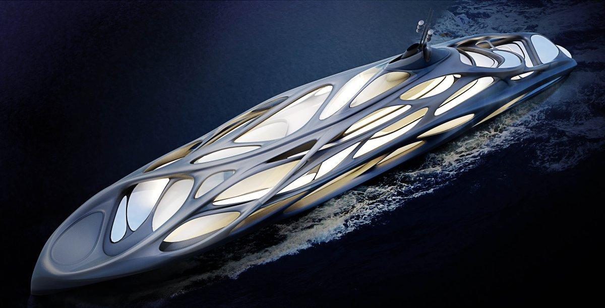 Concept tuyệt vời này được thiết kế bởi kiến trúc sư Zaha Hadid và công ty sản xuất tàu thuyền Đức là Blohm+Voss. Nó có kiểu dáng ngoại thất cực kỳ đẹp và lạ mắt. Ý tưởng này sẽ là hình mẫu để sản xuất 5 chiếc du thuyền thực tế.