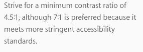 Độ tương phản 5,5:1 mà Apple sử dụng để khuyên developer dùng tỷ lệ 7:1