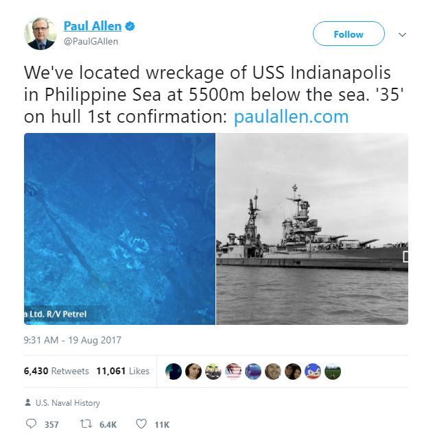 Chúng tôi đã tìm thấy xác con tàu USS Indianapolis tại Biển Philippine tại độ sâu 5.500m dưới mặt nước biển. Số 35 là bằng chứng xác nhận đầu tiên.
