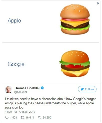 Tôi nghĩ chúng ta cần phải thảo luận một chút về việc tại sao Google lại để lát pho-mai ở cuối như vậy, trong khi Apple thì lại để nó ở trên cùng.