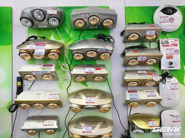 Gian hàng đèn sưởi của các siêu thị điện máy chỉ có sản phẩm của các hãng Châu Á