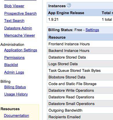 Giao diện cũ của bảng điều khiển App Engine