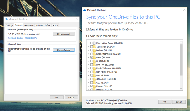 """Khi nhấp vào lựa chọn """"Choose folders"""", bạn sẽ được cung cấp danh sách các thư mục chứa dữ liệu hiện tại trên OneDrive. Từ đây bạn có thể lựa chọn các thư mục mà mình muốn để đồng bộ với máy tính."""
