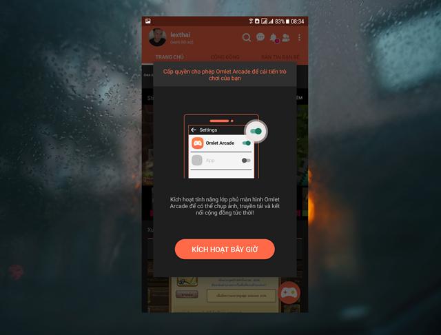 """Nhấn vào """"Kích hoạt bây giờ"""" để cho phép Omlet Aracde được tối ưu lại quá trình chơi game để truyền dữ liệu trực tiếp."""