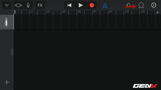 Quay lại giao diện ghi âm, bạn hãy nhấp tiếp vào biểu tượng hình tròn bên cạnh biểu tượng hình bánh răng để truy cập vào mục lựa chọn bài hát.