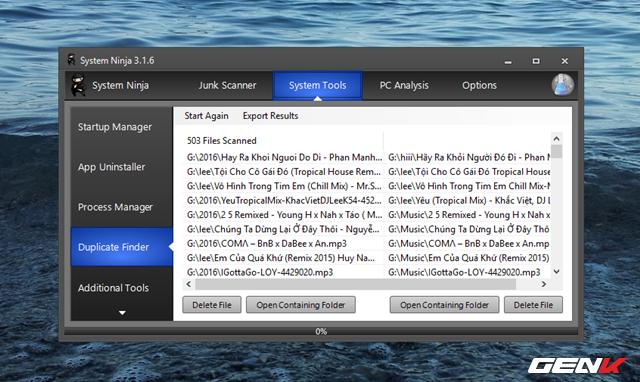 Sau khi quá trình quét kết thúc, System Ninja sẽ liệt kê danh sách các tập tin trùng lập và cung cấp lựa chọn xóa và lựa chọn truy cập nhanh vào thư mục chứa để người dùng có thể xem xét.