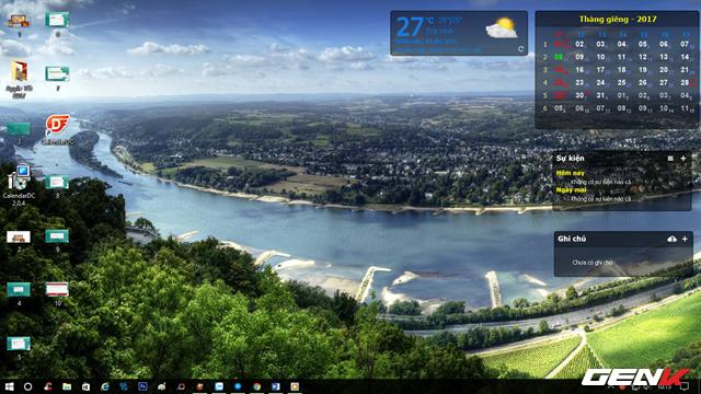 Khi đã chọn xong, CalendarDC sẽ bắt đầu làm việc và hiển thị các widget về thời tiết, lịch, ghi chú và sự kiện trên màn hình desktop. Trong khá giống Rainmeter phải không?