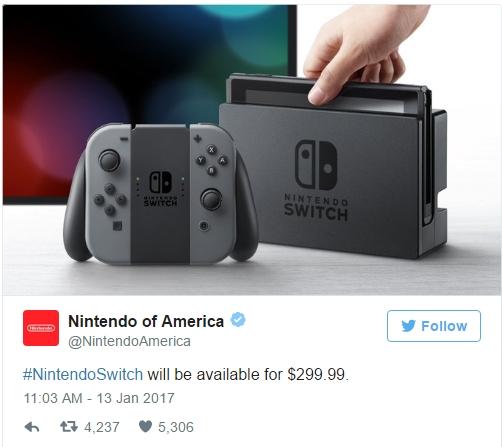 Máy Nintendo Switch sẽ được bán với giá 300 USD