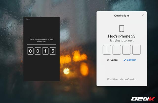 """Khi tiến hành kết nối, màn hình iPhone sẽ cung cấp một dãy 4 số mật khẩu, bạn hãy nhập 4 số này vào cửa sổ kết nối trên máy tính và nhấn """"Confirm"""" để xác nhận."""