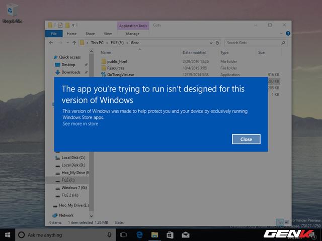 Hầu hết các phần mềm điều không thể hoạt động ở phiên bản Windows 10 Cloud build 15025 rò rỉ này.