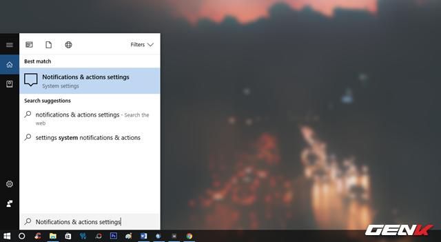 """Nhập từ khóa """"Notifications & actions settings"""" vào Cortana và nhấp vào kết quả đúng nhất."""