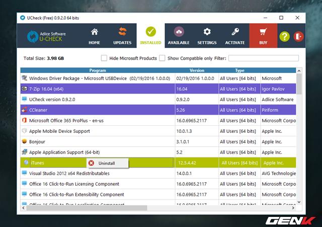 """Tab """"Installed"""" sẽ liệt kê cho người dùng danh sách chi tiết các phần mềm đã được cài đặt trên Windows. Thêm vào đó, người dùng có thể tiến hành gỡ bỏ phần mềm nào mình muốn bằng cách nhấn phải chuột vào nó và chọn """"Uninstall""""."""