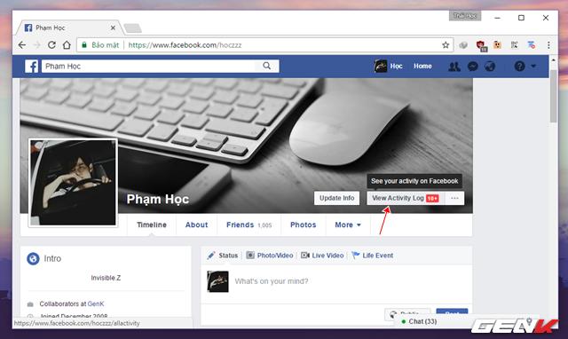 """Sau khi cài đặt xong, bạn hãy tắt và khởi động lại Google Chrome, sau đó truy cập vào tài khoản Facebook của mình và nhấn vào lựa chọn """"View Activity Log"""" (Xem nhật ký hoạt động)."""