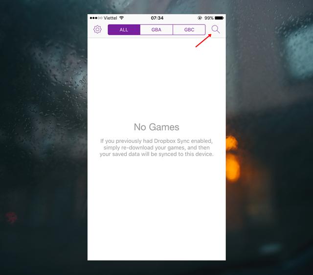 Bây giờ bạn hãy nhấp vào biểu tượng ứng dụng GBA4iOS ở Màn hình chính để khởi động ứng dụng. Khi đã hoàn tất khởi động, bạn hãy nhấp vào biểu tượng Tìm kiếm hình chiếc kính lúp.