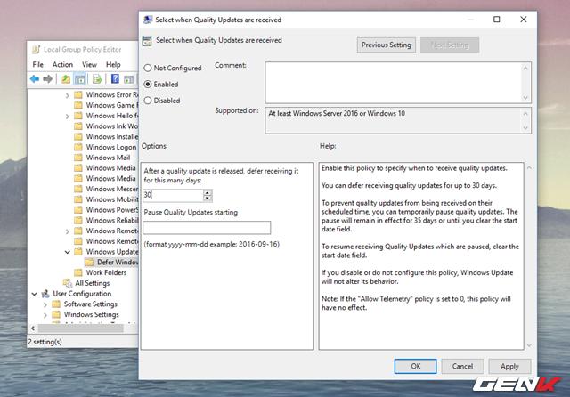"""Trường hợp nếu muốn tạm hoãn các cài đặt cập nhật về chất lượng, cũng như bảo mật, bạn hãy nhấp đôi vào lựa chọn """"Select when Quality Updates are received"""". Sau đó đánh dấu vào lựa chọn """"Enabled"""" để kích hoạt và nhập số ngày bạn muốn tạm hoạn vào bên dưới dòng """"After a quality update is released, defer receiving it for this many days"""". Ở đây chúng ta sẽ có thiết lập thời gian tạm hoãn cập nhật tối đa là 30 ngày."""
