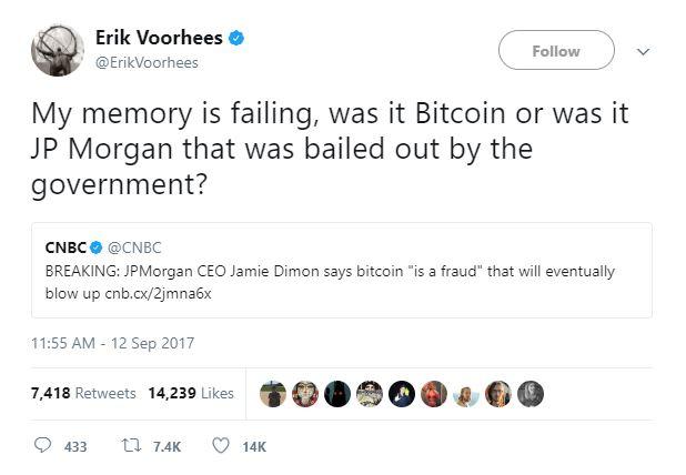 Cộng đồng Bitcoin phản ứng rất dữ dội về lời nhận định của Jamie Dimon