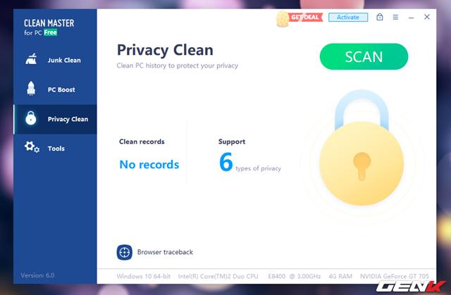 """Tab """"Priacy Clean"""" mang đến chức năng kiểm trà giải quyết các vấn đề về có liên quan đến bảo mật từ hệ thống, cũng như trên các ứng dụng có liên quan đến sử dụng các kết nối internet."""